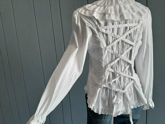 S - Vintage White Cotton Shirt - Victorian Ruffle… - image 2