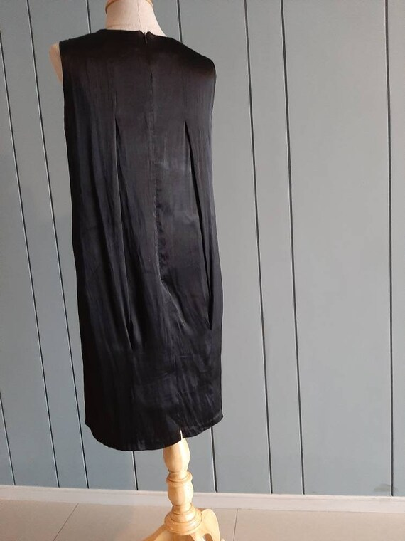 S - Little Black Cocktail Dress - Black Drape Dre… - image 7