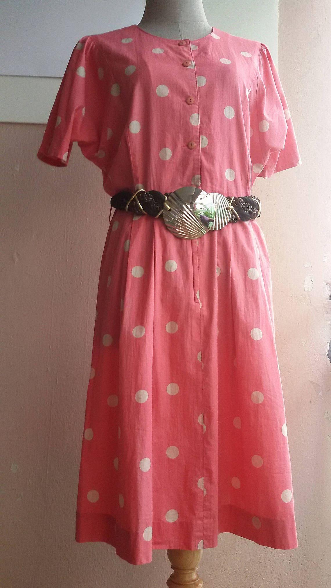 M  70s Day Dress  Summer Cotton Polka Dot Dress  Pink Cream