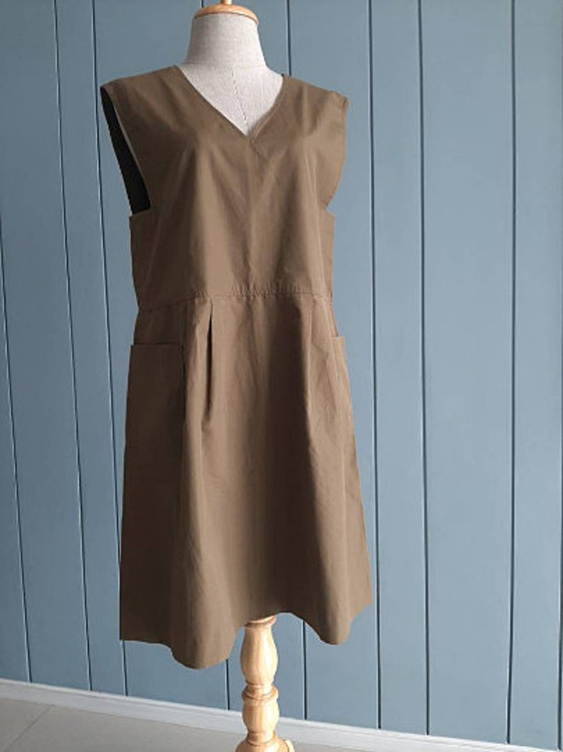 M S Khaki Brown Pinafore Two Pockets Minimalist Chic 18 inches chest Essential Pinafore Cotton