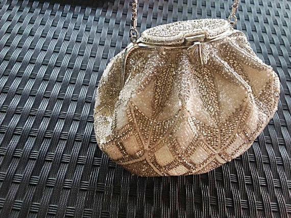 Vintage Boho Bead Evening Bag - White Silver Glass