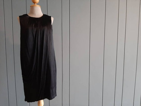 S - Little Black Cocktail Dress - Black Drape Dres