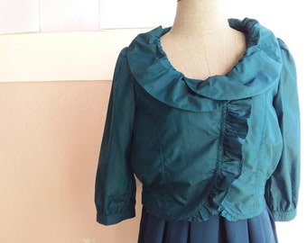 S - M - 90s Ruffle Cropped Jacket - Teal Green Crop Top - Korean Size 55 - Small or Medium
