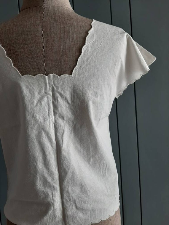 Vintage White Cotton Blouse - Handembroidery Cutw… - image 8