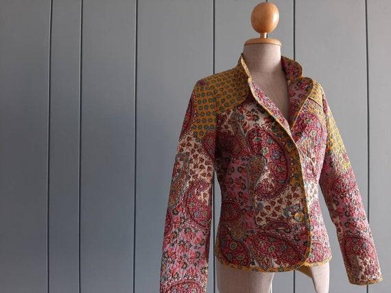 S - 90s Paisley Jacket - Yellow Pink Jacket Made i