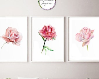 Pink rose art, soft pink wall art, fine art prints, peony watercolor painting, prints with roses, pink decor, romantic art, flower prints