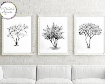 Black and white prints, set of 3 watercolor trees, magnolia, cherry blossom tree, grey tones wall art, zen interior, tree canvas art