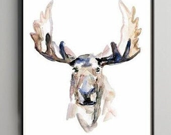 Moose portrait, moose watercolor painting, wild animal fine art print, moose art on canvas, Michelle Dujardin, large antlers, animal art