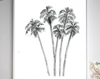 California palm trees print, palm tree drawing, Zen drawing of tree close up, black grey wall art, American tree art, Michelle Dujardin