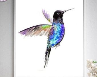 Flying blue black hummingbird watercolor painting, fine art print, metallic purple blue wall art, blue green, black blue, bird art