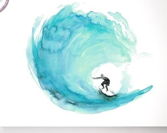 Surf watercolor painting, aqua green wave, Fine Art print, wave painting, surfing wall art, teal decor, ocean art, surf canvas painting