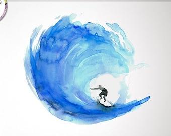 Surf Art, surf watercolor painting, Poster, print, ocean, illustration, wave art, coastal style, beach house decor, blue wall art, surfing
