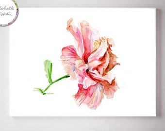 Tropical hibiscus art, pink China rose painting, pink wall art, flower decor, large print, Hibiscus flower watercolor illustration, zen art