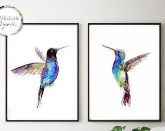 Hummingbird art, Set of 2 flying hummingbirds, watercolor prints, blue wall art, blue green interior, flying bird prints, blue decor art