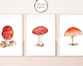 Set of 3 red toadstool prints, mushroom art, fly agaric prints, red wall art, autumn decor, red and white, funghus art, watercolor prints