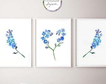Forget me not flowers, set of 3 fine art prints, blue wall art, heart shaped flowers, romantic art, love prints, in loving memory art