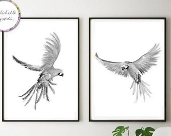 Set of 2 flying macaws, black and white macaws, parrot art, flying parrot paintings, black grey wall art, watercolor print, bird art