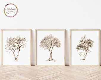 Tree wall art, Sepia grey pencil drawings, fine art prints, magnolia, birch and ficus tree art, Zen drawing, natural interior, warm grey