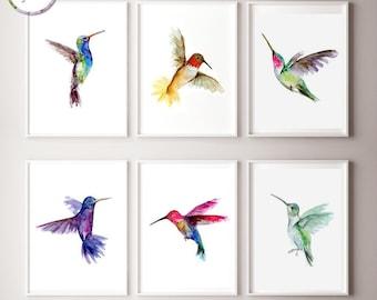 Flying hummingbird Art - set of 6 prints - humingbird watercolor painting - hummingbird decor - bird art - michelle dujardin - nursery birds