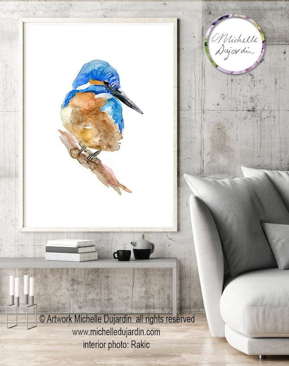 Kingfisher Art Kingfisher Watercolor Painting Giclee Print Etsy