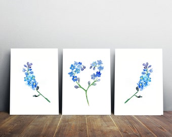 Blue decor - Forget me not Flower Watercolor Painting - Valentine gift - love Print - blue Home decor Blue Flower - Heart Painting
