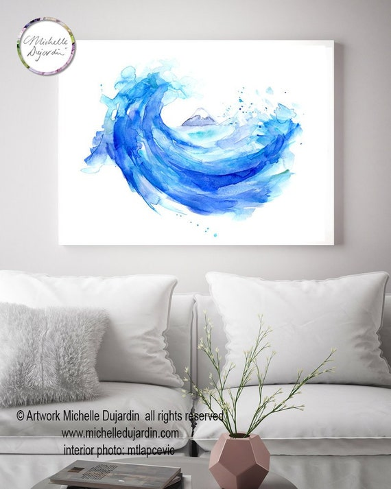 Hokusai Wave Painting Giclee Print Mount Fuji Art Japanese Etsy
