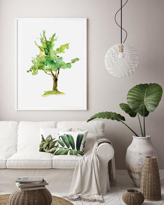 Boom Aquarel schilderij print boom kunst groen interieur | Etsy