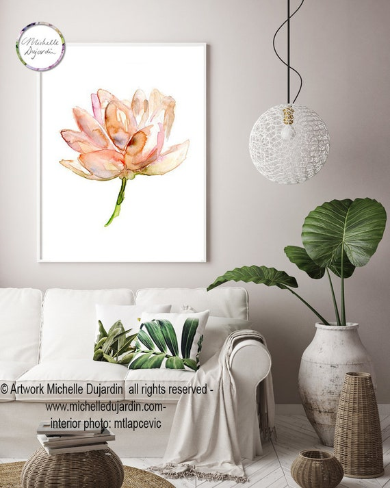 Lotus Watercolor Painting Salmon Pink Lotus Art Giclee Etsy
