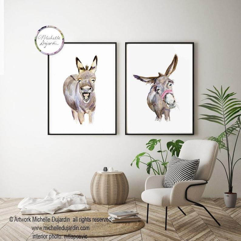 c2cd1687111 Grappige Ezel schilderijen set van 2 prints Ezel kunst | Etsy