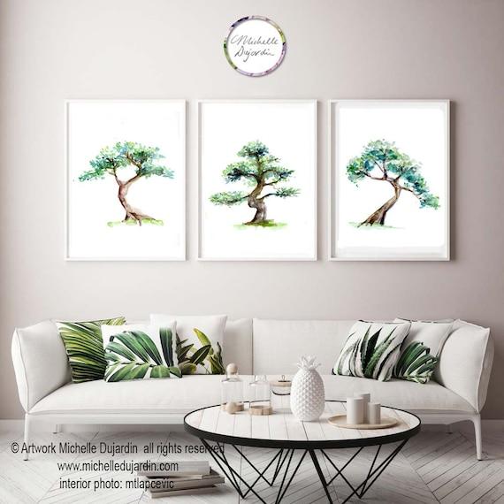 Tree Art Bonsai Tree Watercolor Paintings Set Of 3 Prints Etsy