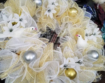 Floral mesh wreath white and tan doves made to order