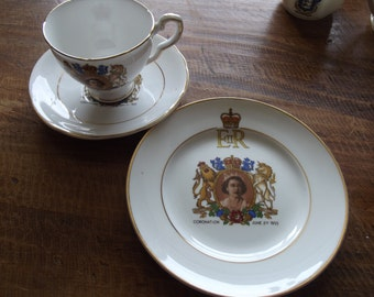 A matching cup, saucer and tea plate to commemorate the coronation of Queen Elizabeth 2nd in 1953