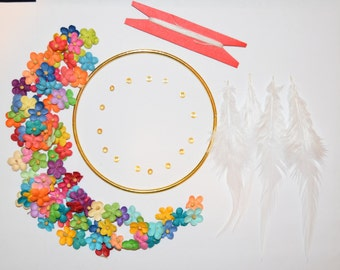 4 inch DIY Dream Catcher Kit - flowers, DIY Kit, Do it yourself, DIY Projects, Craft Projects, Party projects, party dream catcher kits
