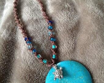 Macrame Brown Hemp Turtle Necklace with Turtle Charm on a Blue Jasper Pendant