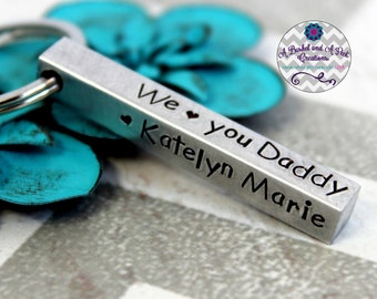 Custom Hand stamped Personalized 4 sided bar key chain