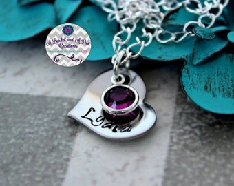 Personalized Hand Stamped Heart Girls Necklace with Birthstone