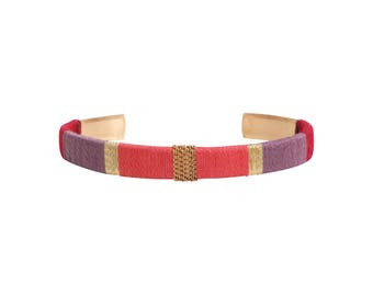 Bangle LUCIEN - old pink, purple, Burgundy and gold