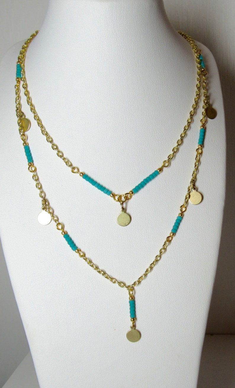 Simple and Elegant Double Chain Necklace with Turquoise colored beads and Gold colored chain