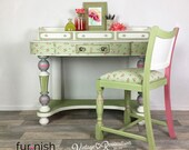 Green vintage writing desk and Chair, Green and Pink Ladies Dressing Table, up-cycled hand painted furniture, Girls decoupaged desk, Roses