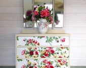 Dressing table with mirror/vintage dressing table/pink dressing table/cream dressing table/pink roses/ bedroom furniture/chest of drawers