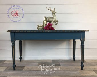 Coffee Table, blue, chalk paint, hand painted  furniture, shabby chic, stencil