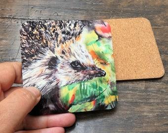 Hedgehog coaster British Wildlife with matching card