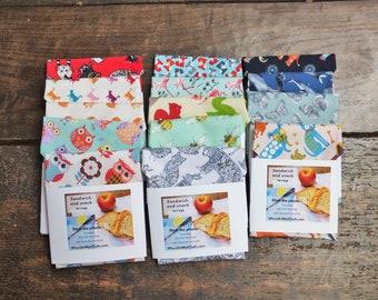 sandwich wrap reuseable wrap snack wrap eco fabric lunch bag teacher gift animal prints letter box gift
