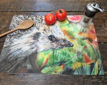 Hedgehog tea towel 100% cotton with matching card