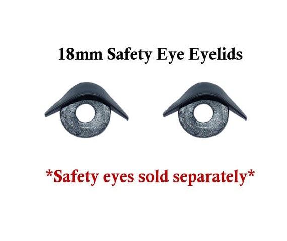 18 mm Black Eyelids One Pair  for Plush Dolls Toys