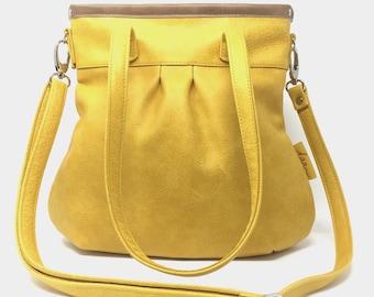 Leather bag ,Leather Bag yellow, handbag leather, leather shopper