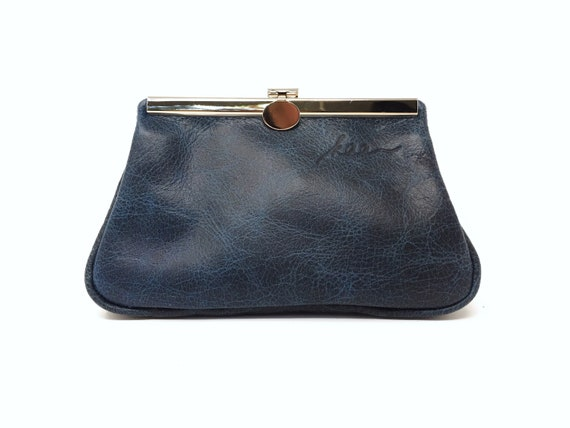 blue cosmetic bag leather,cosmetic purse,leather pouch,small leather clutch, Make up bag, clutch blue leather