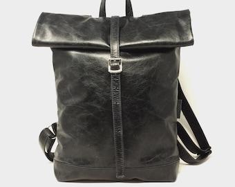 Back pack, back pack leather black