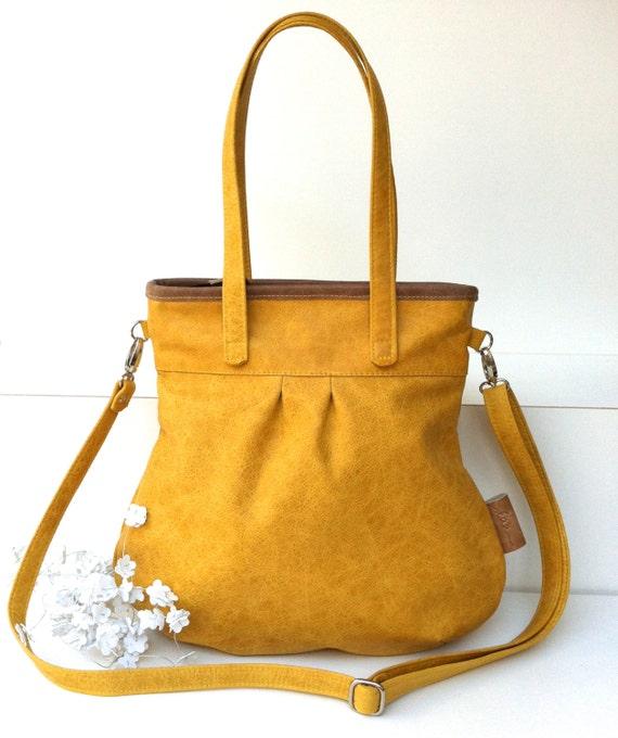"""Leather handbag , Leather Shoulder Bag """" SHELLY BAG """" SAFRAN , yellow"""