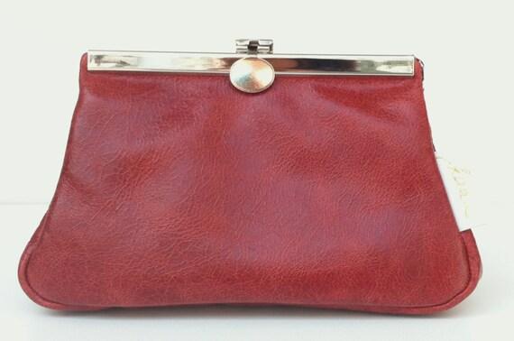 "Leather cosmetic bag,cosmetic purse, "" GRANAT"",kaa berlin , makeup bag, Clutch Bag, Brown"